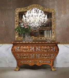 Art. 395, Credenza classica di lusso, in legno, con 2 cassettoni, intagli a mano