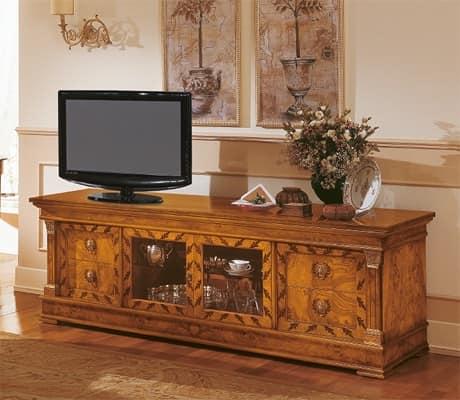 Credenze in legno mobile classico soggiorno porta tv con - Mobile porta tv classico legno ...