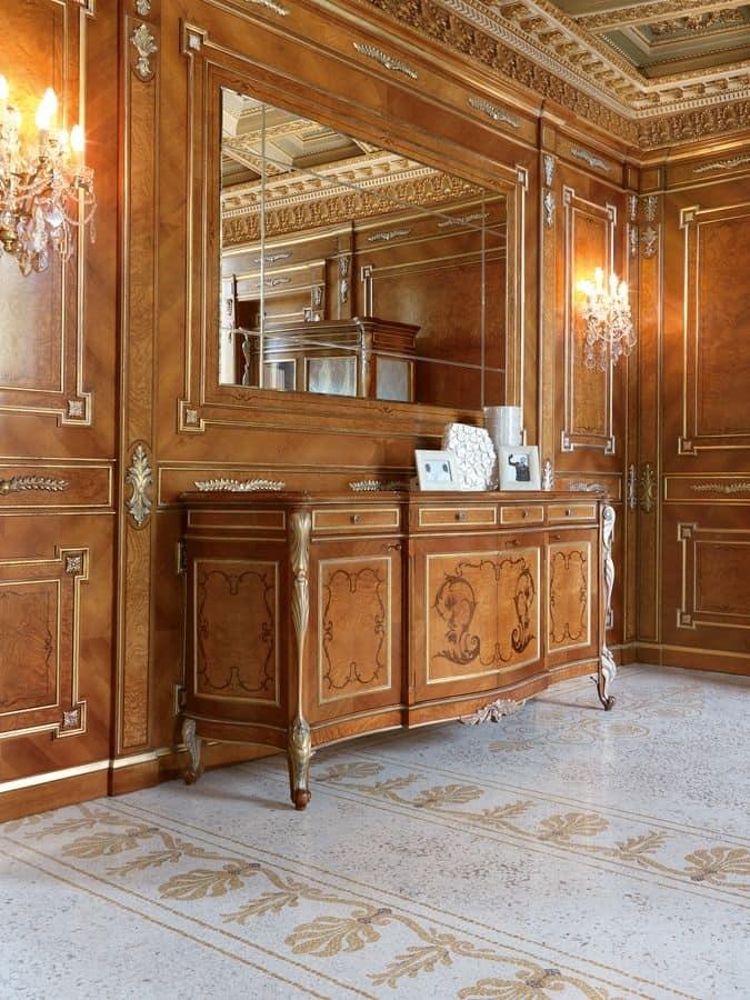 Credenza intagliata classica in noce per soggiorno di for Calligaris mobili soggiorno