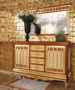 Art. 900, Mobile classico per soggiorno, in legno intarsiato, 2 porte, 4 cassetti