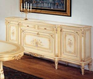 Art. L-789 bis, Credenza con 2 porte, 2 cassetti e 1 ribalta, decori floreali, cornici dorate, per ambienti classici di lusso