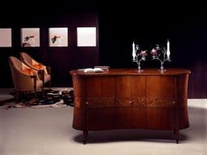 CR18 Godet, Credenza classica in legno curvato, decorazioni in radica
