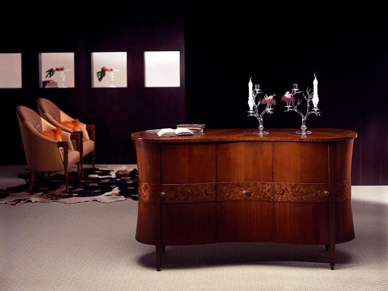Credenza classica in legno curvato decorazioni in radica - Carpanelli mobili ...