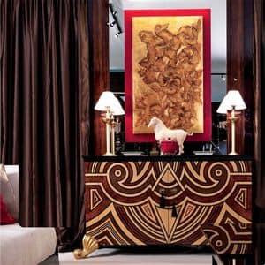 CR20.20, Credenza classica di lusso, decori foglia oro, vari intarsi