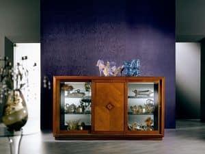 CR25 Arte, Credenza in stile classico, con cristallo e ante scorrevoli