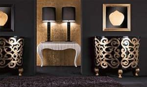CR343, Credenza di lusso in legno laccato, per hall