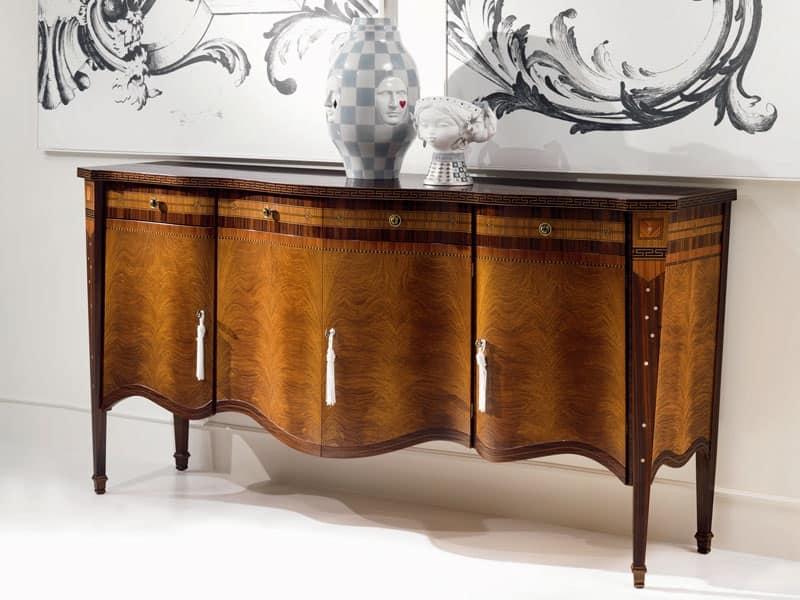 Credenza intarsiata in stile con 4 ante per zona giorno idfdesign - Carpanelli mobili ...