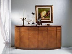 CR491 Neoclassica, Credenza in legno, forma ovale, in stile classico di lusso