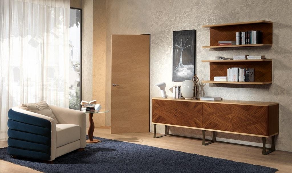 Credenza 4 ante in legno in stile classico contemporaneo idfdesign - Stile contemporaneo mobili ...