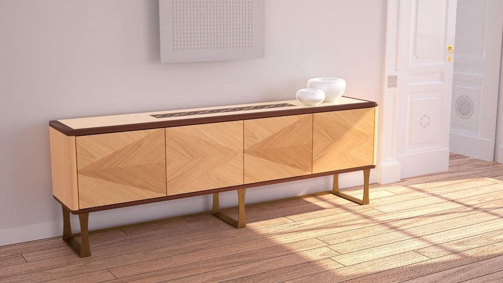 Credenza Moderna 4 Ante : Credenza in legno con ante stile contemporaneo idfdesign