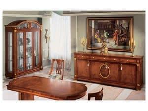 IMPERO / Credenza a 4 ante, Credenza in stile classico, in legno con finiture oro