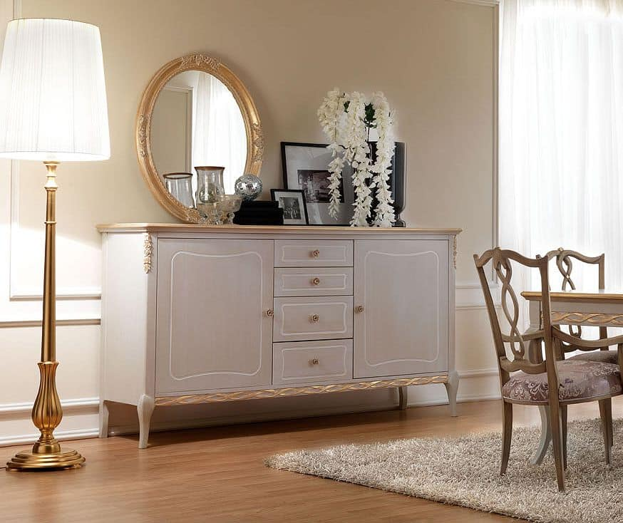 Credenza in legno decorato in stile classico for Mobili stile contemporaneo moderno