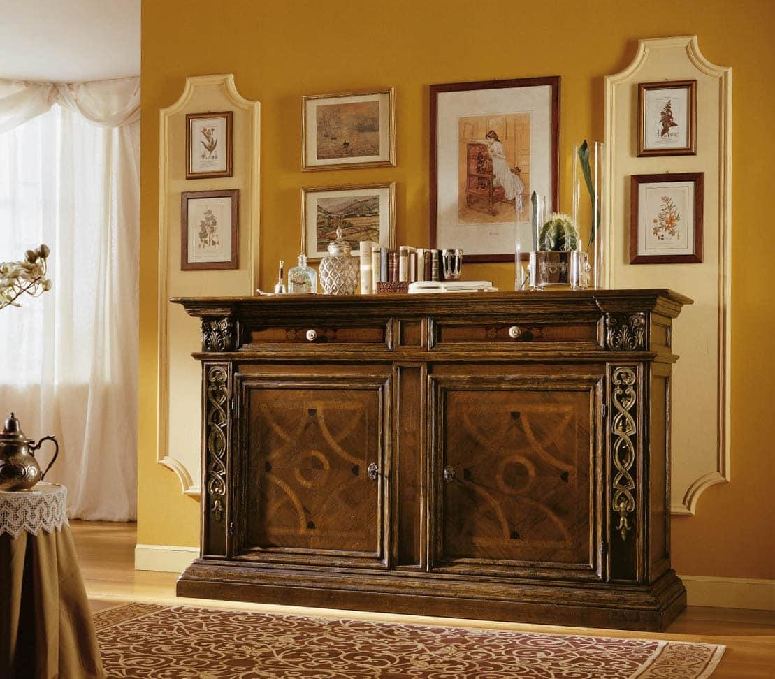 Credenza intarsiata e intagliata in stile 39 500 toscano - Mobili stile toscano ...