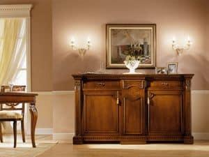 REGINA NOCE / Credenza, Credenza classica di lusso, in legno massello, per Soggiorno