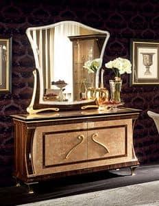 Rossini mobile buffet, Credenza in legno macassar, finiture in colore caramello