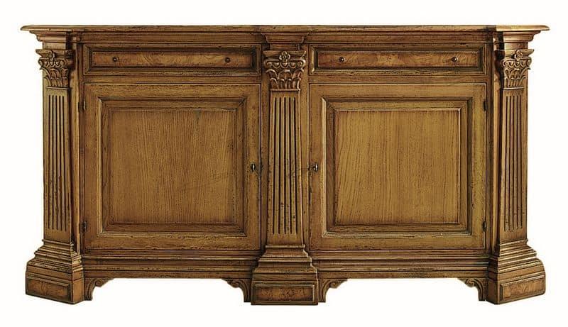 Credenza Con Alzata Classica : Credenza in rovere a porte e cassetti con inserti radica di