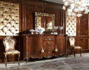Vittoria Credenza, Credenza in legno intarsiato, con 2 porte e 4 cassetti