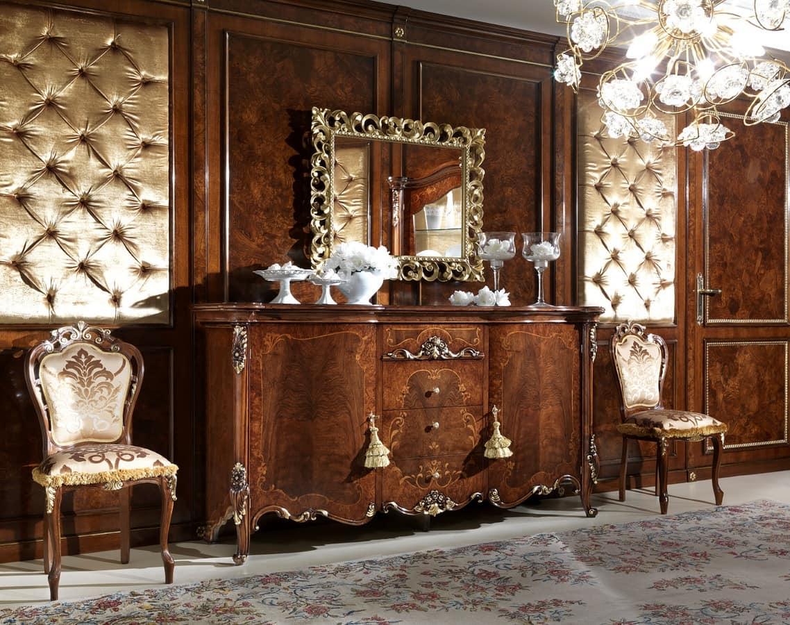Credenza Con Intarsi : Credenza in legno intarsiato con porte e cassetti idfdesign