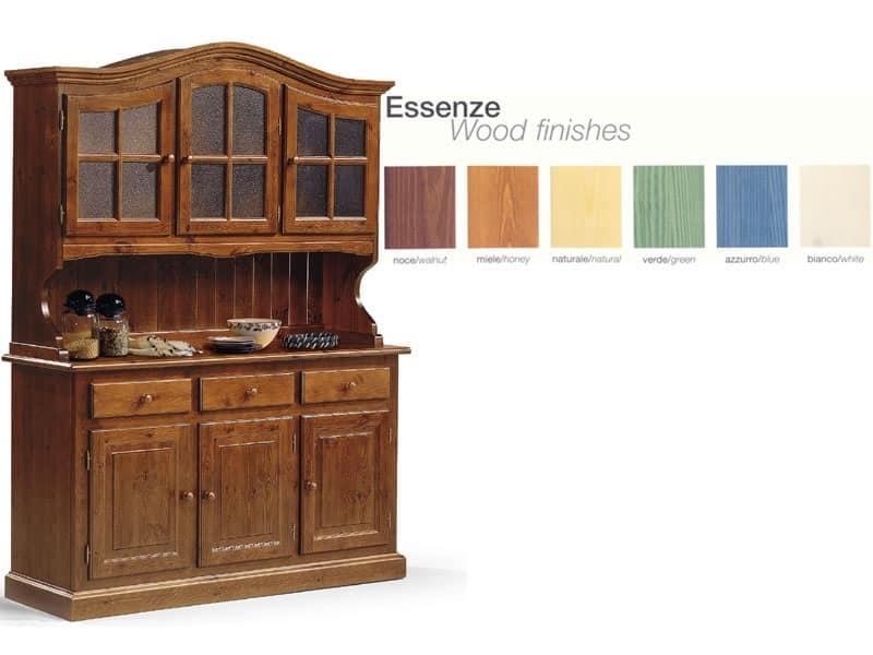 Credenza in legno con vetrinetta, per cucina rustica | IDFdesign