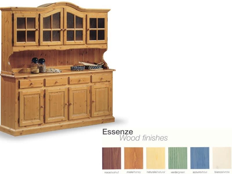 Credenza Con Vetrinetta Arte Povera : Credenza in legno con vetrinetta per cucina rustica idfdesign