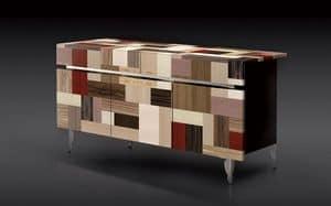 ATHENA 1.7 PW90 LA-BLACK, Credenza 3 porte, 2 cassetti, finiture di pregio, ideale per ambienti residenziali moderni