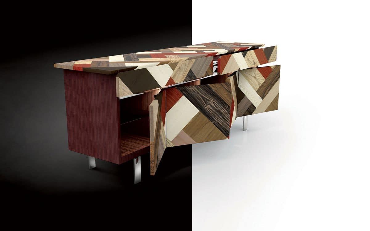 Credenza Per Mansarda : Credenza in palissandro rivestimento essenze di legno incrociate