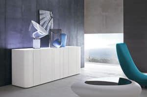 BANDS, Madia design con top in vetro extrachiaro verniciato