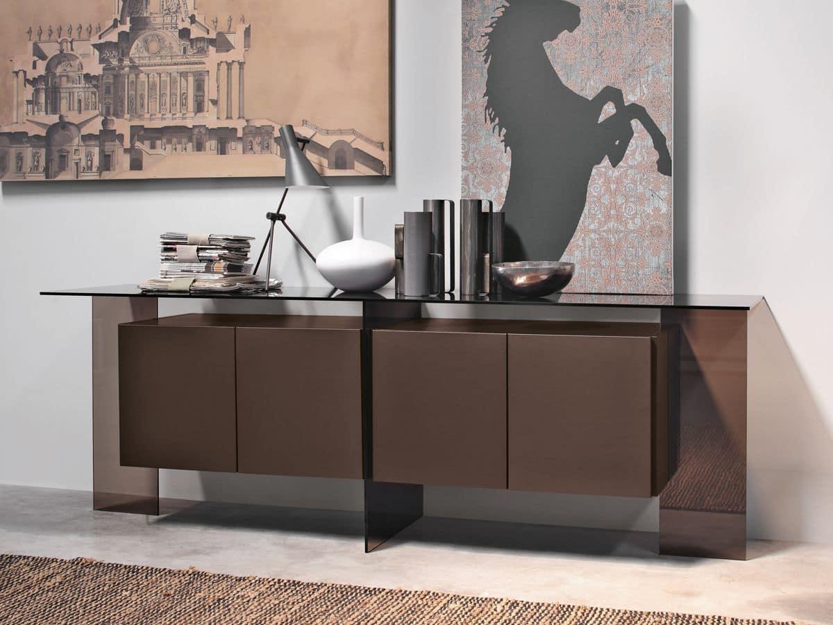 Fianchi E Top In Vetro Brunito Ripiani Interni In Vetro Inclusi  #845F47 1200 900 Sala Da Pranzo Moderna Ikea