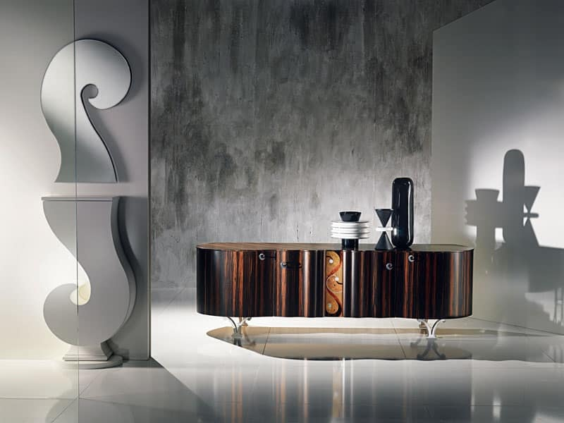 Mobile Credenza Con Ruote : Credenza in legno con intarsio pomoli metallo cromato idfdesign