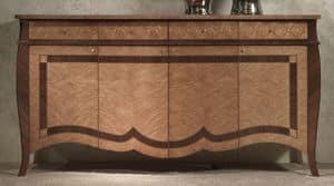 CR59 Charme credenza, Credenza in legno intarsiato, per alberghi di lusso