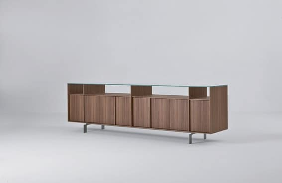 Credenza design varie finiture piano in vetro idfdesign for Mobile basso design