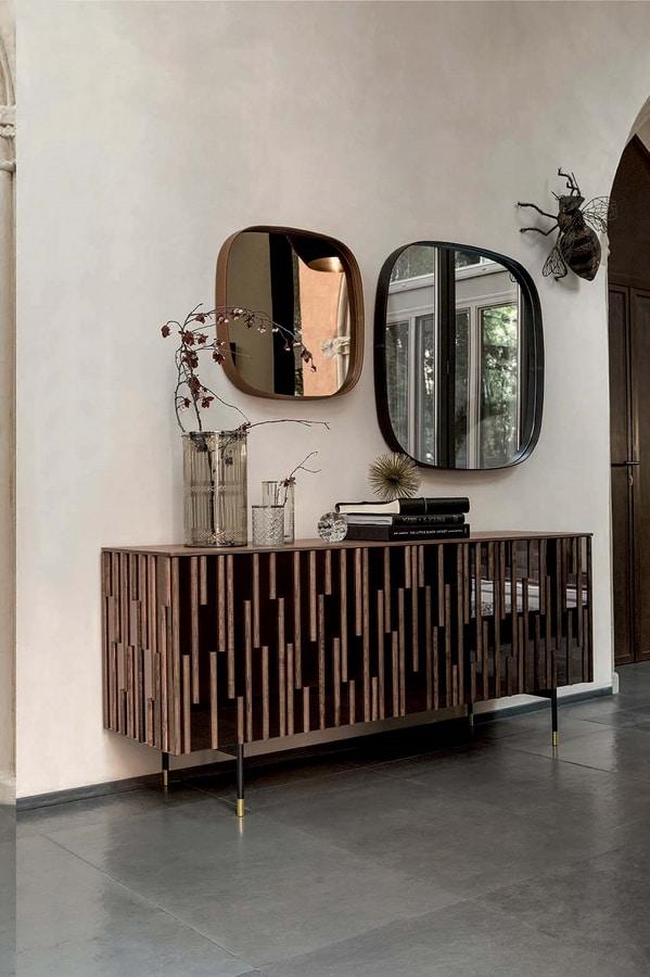 DROPS  programma, Programma con ante e fianchi effetto specchio  e particolari in legno