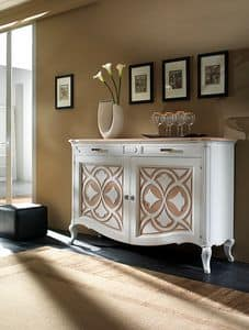 F 102 B, Credenza contemporanea in frassino, con tinte all'acqua