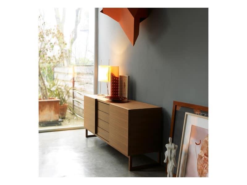 Credenza Bianca Con Ante Scorrevoli : Credenza in legno con ante scorrevoli stile moderno idfdesign
