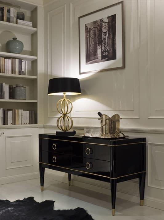Credenza in legno massello con decori foglia oro idfdesign for Galimberti case legno