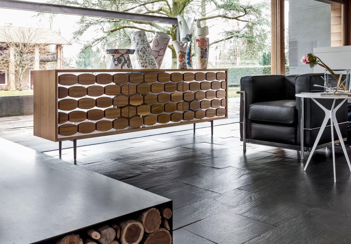 Credenza in legno con decoro alveare per soggiorno for Mobili da ristorante di design
