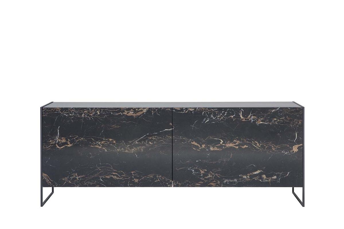 IDRA, Madia con ante complanari in gres porcellanato e base in metallo