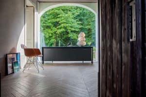 MIAMI madia, Madia in legno laccato, metallo cromato, vetro temperato