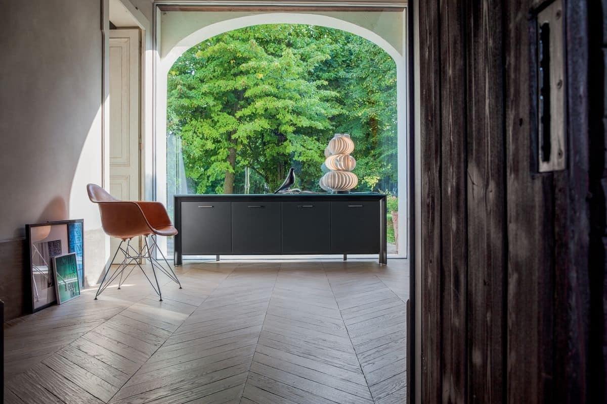 madia in legno laccato, metallo cromato, vetro temperato | idfdesign - Mobili Moderni Miami