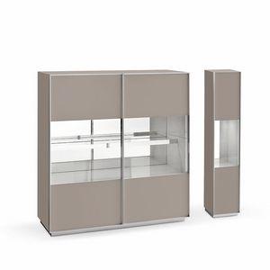 Miss A, Credenza design, in vetro e alluminio, per salotti