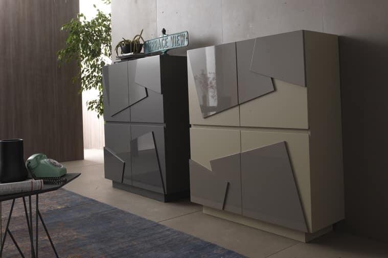 madia a 4 porte in varie finiture per zona giorno idfdesign. Black Bedroom Furniture Sets. Home Design Ideas