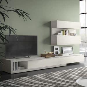 Spazio S309, Parete attrezzata per tv, con sistema hi-fi
