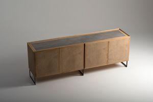 Tury buffet, Mobile credenza con piano in cemento porcellanato