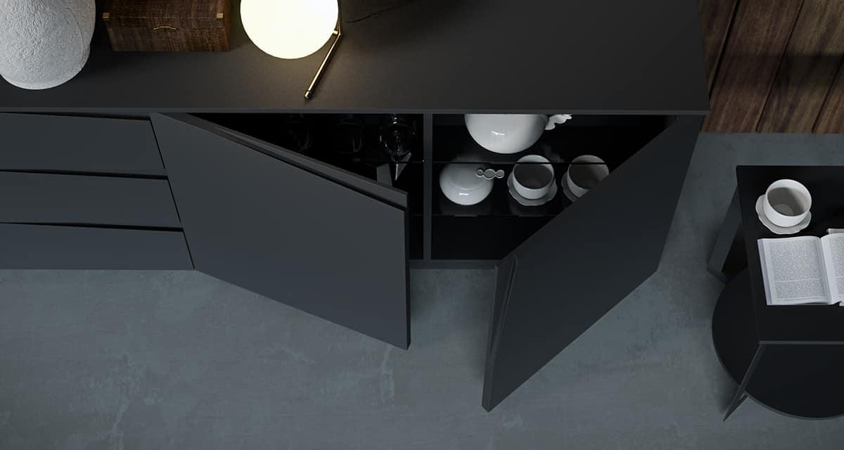Credenza Moderna Sottile : Credenza dal design moderno con cassetti ed ante idfdesign