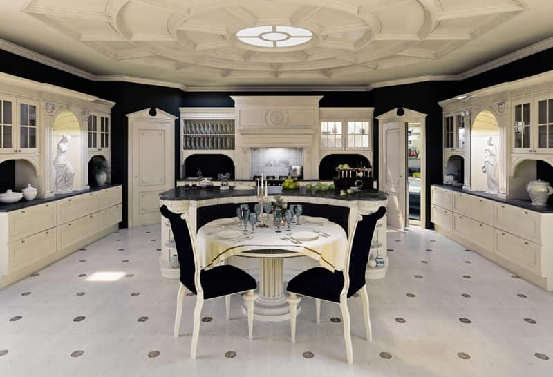 Cucine Di Lusso Classiche : Cucina in legno laccato per sala da pranzo classica idfdesign