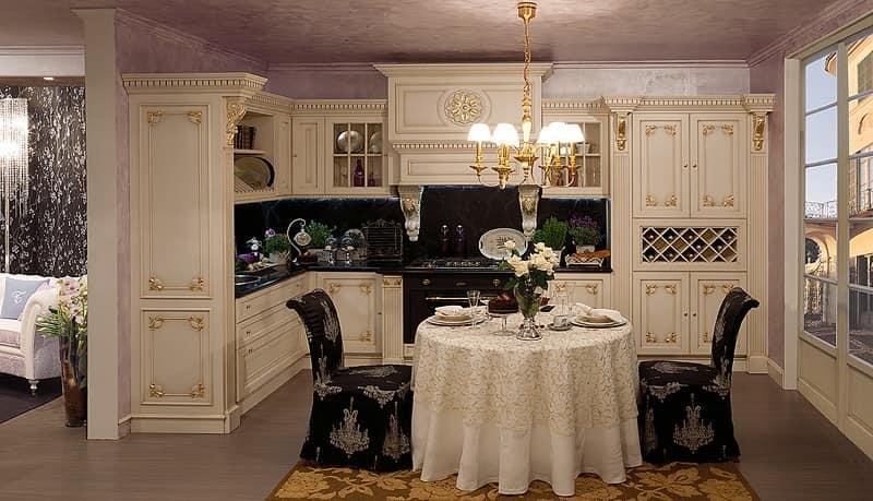 Cucina in legno decorazioni foglia oro classica idfdesign - Cucine di lusso tedesche ...