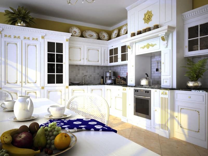 Cucina di lusso, in legno laccato, con ricche finiture  IDFdesign