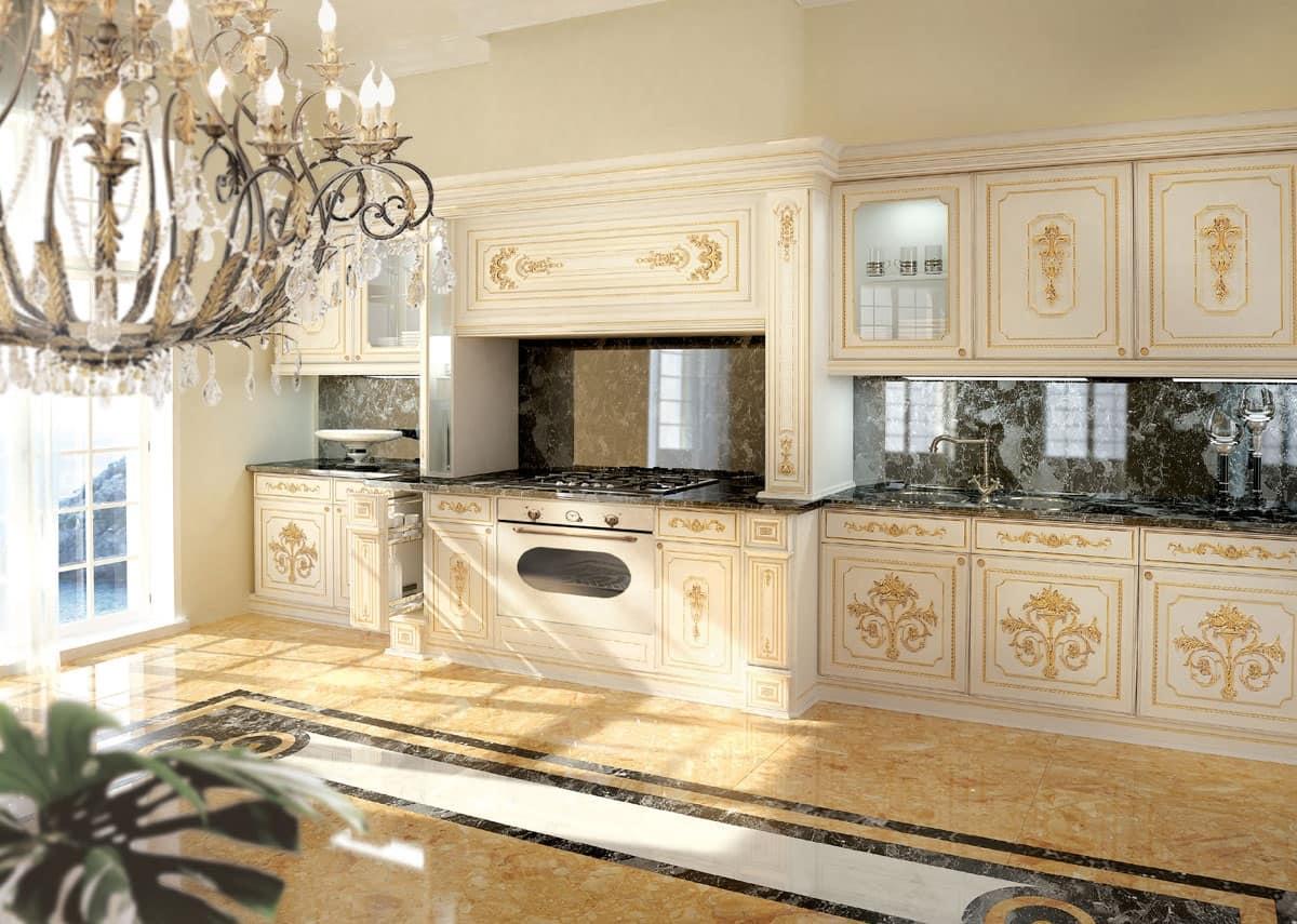 Cucina classica di lusso laccata bianca e decori in oro  IDFdesign