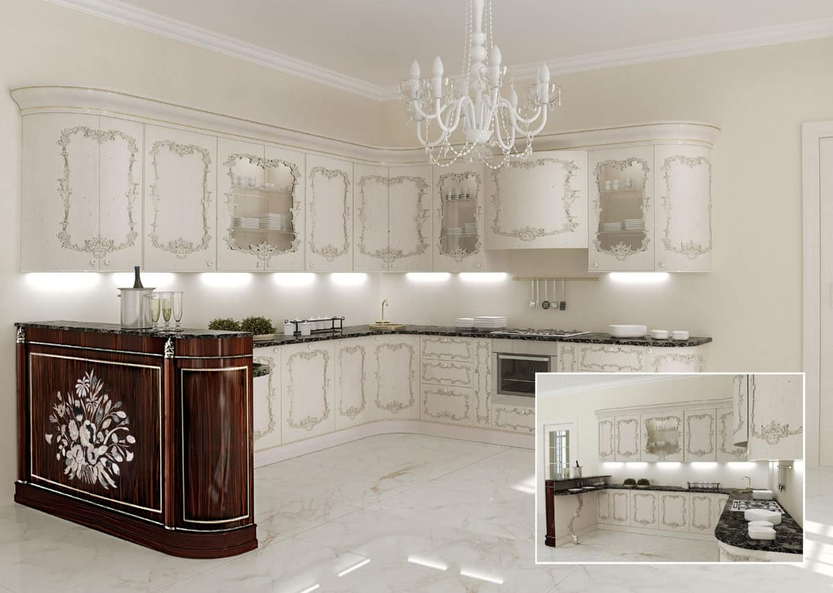 Cucina classica ripiani in marmo per ville classiche idfdesign - Immagini di cucine classiche ...
