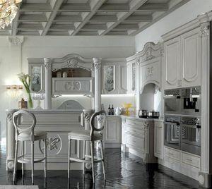 Luigi XVI cucina, Arredo cucina con raffinati e preziosi dettagli